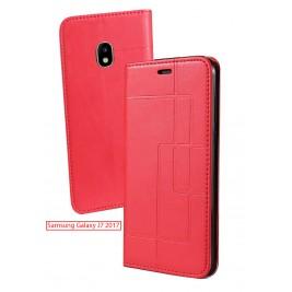 Etui Samsung Galaxy J7 2017 et Pochette Multicarte avec fermeture Magnétique Rouge