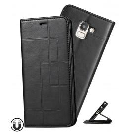 Etui Samsung Galaxy J6 et Pochette Multicarte avec fermeture Magnétique Noir
