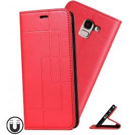 Etui Samsung Galaxy J6 et Pochette Multicarte avec fermeture Magnétique Rouge