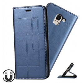 Etui Samsung Galaxy J6 et Pochette Multicarte avec fermeture Magnétique Bleu