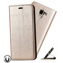 Etui Samsung Galaxy J6 et Pochette Multicarte avec fermeture Magnétique Doré