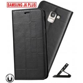 Etui Samsung Galaxy J6 Plus et Pochette Multicarte avec fermeture Magnétique Noir