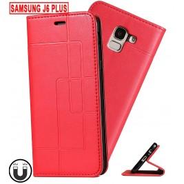 Etui Samsung Galaxy J6 Plus et Pochette Multicarte avec fermeture Magnétique Rouge