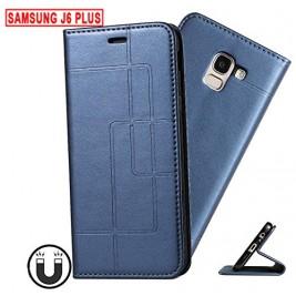 Etui Samsung Galaxy J4 Plus et Pochette Multicarte avec fermeture Magnétique Bleu