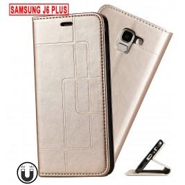 Etui Samsung Galaxy J6 Plus et Pochette Multicarte avec fermeture Magnétique Doré