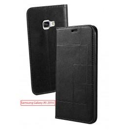 Etui Samsung Galaxy A5 2016 et Pochette Multicarte avec fermeture Magnétique Noir