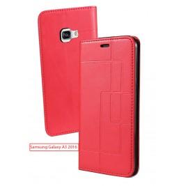 Etui Samsung Galaxy A3 2016 et Pochette Multicarte avec fermeture Magnétique Rouge