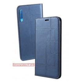 Etui Samsung Galaxy A7 2018 et Pochette Multicarte avec fermeture Magnétique Bleu