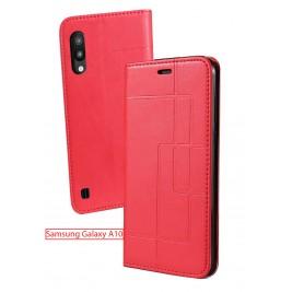 Etui Samsung Galaxy A10 et Pochette Multicarte avec fermeture Magnétique Rouge