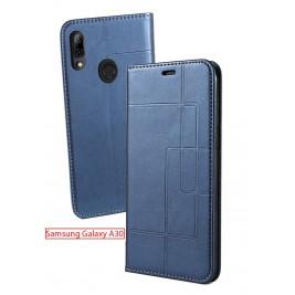 Etui Samsung Galaxy A20/A30 et Pochette Multicarte avec fermeture Magnétique Bleu