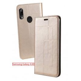 Etui Samsung Galaxy A20/A30 et Pochette Multicarte avec fermeture Magnétique Doré