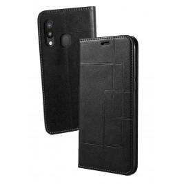 Etui Samsung Galaxy A40 et Pochette Multicarte avec fermeture Magnétique Noir