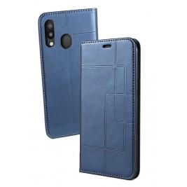 Etui Samsung Galaxy A40 et Pochette Multicarte avec fermeture Magnétique Bleu