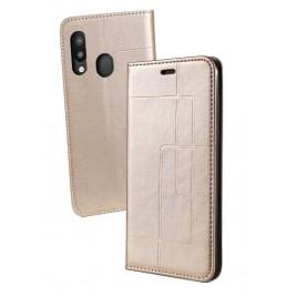 Etui Samsung Galaxy A40 et Pochette Multicarte avec fermeture Magnétique Doré