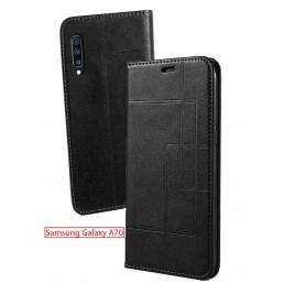 Etui Samsung Galaxy A70 et Pochette Multicarte avec fermeture Magnétique Noir