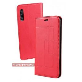 Etui Samsung Galaxy A70 et Pochette Multicarte avec fermeture Magnétique Rouge