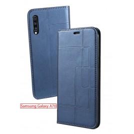 Etui Samsung Galaxy A70 et Pochette Multicarte avec fermeture Magnétique Bleu