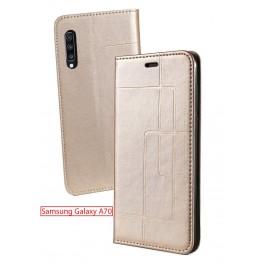 Etui Samsung Galaxy A70 et Pochette Multicarte avec fermeture Magnétique Doré