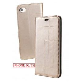 Etui iPhone 5G et Pochette Multicarte avec fermeture Magnétique Doré