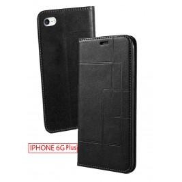 Etui iPhone 6G Plus et Pochette Multicarte avec fermeture Magnétique Noir