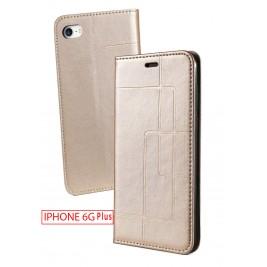 Etui iPhone 6G Plus et Pochette Multicarte avec fermeture Magnétique Doré