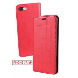Etui iPhone 7G/8G Plus et Pochette Multicarte avec fermeture Magnétique Rouge