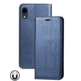 Etui iPhone XR et Pochette Multicarte avec fermeture Magnétique Bleu