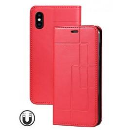 Etui iPhone XS Max et Pochette Multicarte avec fermeture Magnétique Rouge