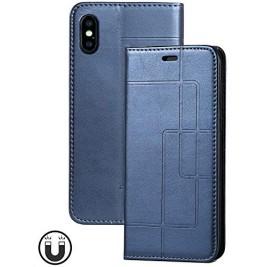 Etui iPhone XS Max et Pochette Multicarte avec fermeture Magnétique Bleu