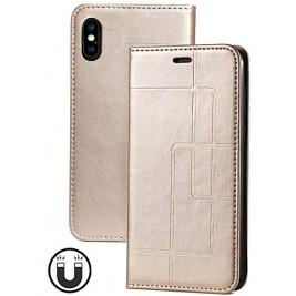 Etui iPhone XS Max et Pochette Multicarte avec fermeture Magnétique Doré