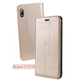 Etui Huawei Y5 2019 et Pochette Multicarte avec fermeture Magnétique Doré