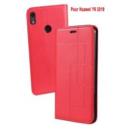 Etui Huawei Y6 2019 et Pochette Multicarte avec fermeture Magnétique Rouge
