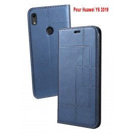 Etui Huawei Y6 2019 et Pochette Multicarte avec fermeture Magnétique Bleu