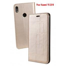 Etui Huawei Y6 2019 et Pochette Multicarte avec fermeture Magnétique Doré