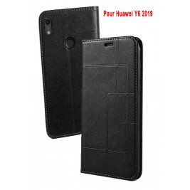 Etui Huawei Y6 2019 et Pochette Multicarte avec fermeture Magnétique Noir