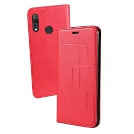 Etui Huawei Y7 2019 et Pochette Multicarte avec fermeture Magnétique Rouge