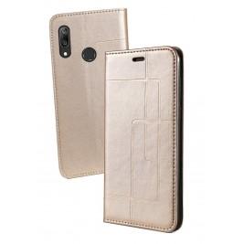 Etui Huawei Y7 2019 et Pochette Multicarte avec fermeture Magnétique Doré