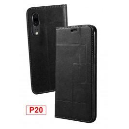 Etui Huawei P20 et Pochette Multicarte avec fermeture Magnétique Noir