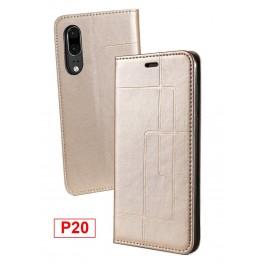 Etui Huawei P20 et Pochette Multicarte avec fermeture Magnétique Doré
