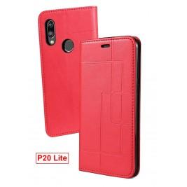 Etui Huawei P20 Lite et Pochette Multicarte avec fermeture Magnétique Rouge