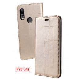 Etui Huawei P20 Lite et Pochette Multicarte avec fermeture Magnétique Doré
