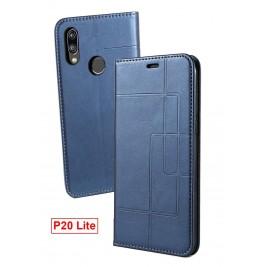 Etui Huawei P20 Lite et Pochette Multicarte avec fermeture Magnétique Bleu