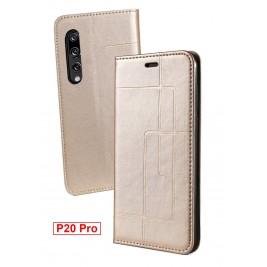 Etui Huawei P20 Pro et Pochette Multicarte avec fermeture Magnétique Doré