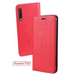 Etui Huawei P30 et Pochette Multicarte avec fermeture Magnétique Rouge