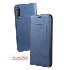 Etui Huawei P30 et Pochette Multicarte avec fermeture Magnétique Bleu