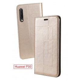 Etui Huawei P30 et Pochette Multicarte avec fermeture Magnétique Doré
