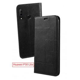 Etui Huawei P30 Lite et Pochette Multicarte avec fermeture Magnétique Noir