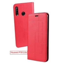 Etui Huawei P30 Lite et Pochette Multicarte avec fermeture Magnétique Rouge