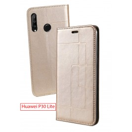 Etui Huawei P30 Lite et Pochette Multicarte avec fermeture Magnétique Doré
