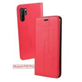 Etui Huawei P30 Pro et Pochette Multicarte avec fermeture Magnétique Rouge